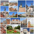 Gdansk photo collage from poland collage includes major landmarks like the granaries and neptune fountain Royalty Free Stock Image