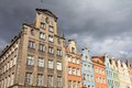 Gdansk poland city also know nas danzig in pomerania region famous apartment buildings next to dlugi targ Stock Photos