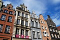 Gdansk, Poland: Dluga Targ 16-18th Cty Mansions Royalty Free Stock Photo