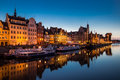 Gdansk poland harbor view at motlawa river is the landmark of the city this is the most attractive view of the city the night Royalty Free Stock Photography