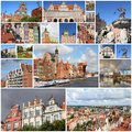 Gdansk poland photo collage from collage includes major landmarks like the granaries and neptune fountain Royalty Free Stock Photo