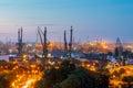 Gdansk shipyard at night harbor cranes in light Royalty Free Stock Images