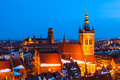 Gdansk skyline with st catherines and st marys churches pomerania poland Stock Image
