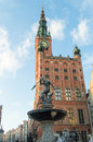 Gdańsk old town with the famous fountain of neptune Royalty Free Stock Image