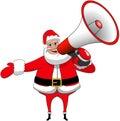 Geïsoleerde santa claus happy speaking megaphone xmas Royalty-vrije Stock Afbeeldingen