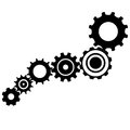 Gear box mechanism blue print with technical sketches Royalty Free Stock Photo