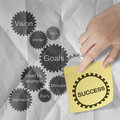 Gear business success chart on sticky note with crumpled paper b hand shows background as concept Royalty Free Stock Photography