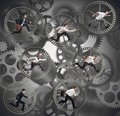 Gear businesspeople as parts of a machine Stock Images