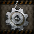 Gear with chain on metal mechanical illustration Stock Photo
