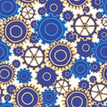 Gear Collage many sizes and styles of gears in bright blues and yellow, seamless repeat vector pattern