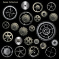 Gear collection machine of vector cogwheel and gears Stock Photos