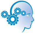 Gear head logo a icon of a mind thinking person Stock Photos