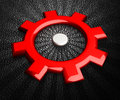 Gear icon red gearwheel on black background hi res digitally generated image Stock Images