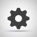 Gear icon with shadow on a gray background. Vector illustration