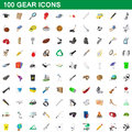 100 gear icons set, cartoon style