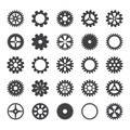 Gear icons set. Vector transmission cog wheels and gears isolated on white background