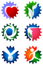 Gear logo set isolated illustrated Stock Photography