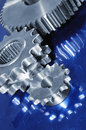 Gear mechanism and blue steel Stock Image