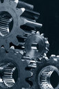 Gear-mechanism in duplex-blue toning Stock Image