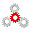 Gear red and silver d render Stock Photos