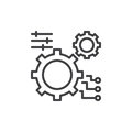 Gear, settings line icon, outline vector sign, linear style pictogram isolated on white. Royalty Free Stock Photo