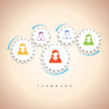 Gear teamwork concept vector illustration of several gears with people icon illustrating Royalty Free Stock Images