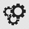 Gear vector icon in flat style. Cog wheel illustration on isolat