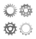Gear vector set of four various gears eps file gradient mesh and transparency used Stock Photos