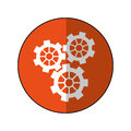 Gear wheel engine cog icon orange shadow Royalty Free Stock Photo