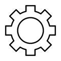 Gear wheel line icon. Cog sign. Options, preferences and settings symbol. Vector