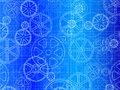 Gear wheels blueprint industrial artistic background illustration Royalty Free Stock Images