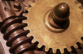 Gear wheels closeup on machanical and old industrial machine parts Royalty Free Stock Photography