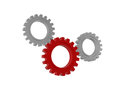 Gear wheels symbols isolated signs d red and white figures technical support concept Stock Photography