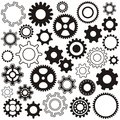 Gear wheels various wheel collection black silhouette Royalty Free Stock Images