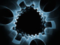 Gear world blue gears series background of blue fractal elements for your design needs on the subject of industry science and Stock Image