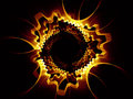 Gear world golden gears series background of golden fractal elements for your design needs on the subject of industry science and Stock Image
