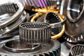 Gearbox parts stack of gearings and wheels Royalty Free Stock Images