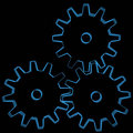 Gears (3D xray blue) Royalty Free Stock Photos