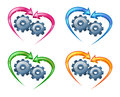 Gears and arrows in the shape of a heart. Stock Photo