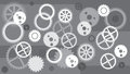 Gears background. Concept of motion. Technology. GREY white.