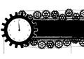 Gears banner with clock vector and in black and white colors Royalty Free Stock Photos