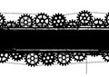Gears banner vector with and chains in black and white colors Royalty Free Stock Images
