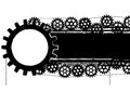 Gears banner vector with and chains in black and white colors Stock Images