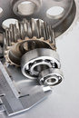 Gears and bearings with calipers Stock Image