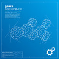 Gears blueprint background. Vector. Stock Photos