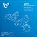 Gears blueprint background. Vector. Royalty Free Stock Photography