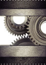 Gears cog wheel and metal borders Stock Images