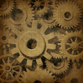 Gears cogs in ancient grunge old parchment Stock Images