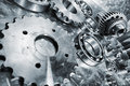 Gears cogs and bearing engineering parts large for aerospace industry special processing concept Royalty Free Stock Photo