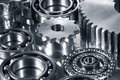 Gears in dark metallic tone Stock Photos
